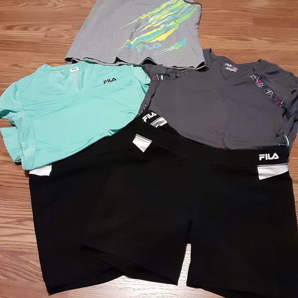 Lot of three fila tops and two fila shorts